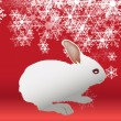 Cute Rabbit Isolated on Snowfall Background — Stock Vector