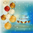 Hanging Christmas Balls on Decorative Background — Stock Vector