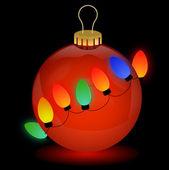 Lumières décoratives, isolés sur la boule de Noël — Vecteur
