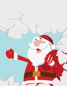 Santa Claus Breaking a Wall — Stock Vector