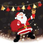 Happy santa claus met geschenk tas — Stockvector
