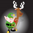 Stock Vector: Cute Elf with Rudolf Reindeer