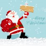 Happy Santa Holding North Pole in Snow — Stock Vector