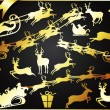 Golden Christmas Reindeers with Santa — 图库矢量图片