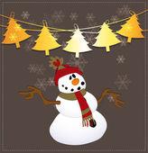 Snowman On Christmas Background — Stock Vector