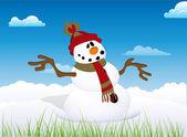 Snowman in a Park — Stock Vector