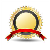 Golden Award with Red Banner — Stock Vector