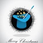 Fondo de Navidad sombrero mágico — Vector de stock