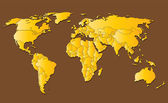 Yellow World Map Isolated on Brown Background — Stock Vector