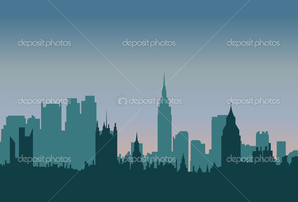 Creative Abstract Decor Design Silhouettes of City Background — Stock Vector #7936637