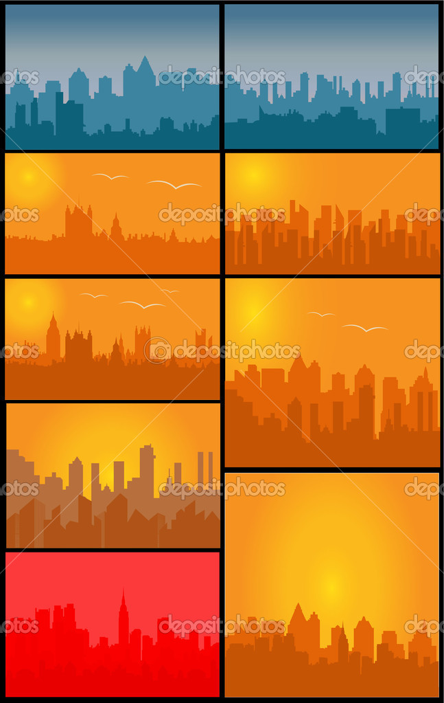 Creative Abstract Conceptual Decorative Design of Set of Vector Cities Silhouette — Stock Vector #7937776