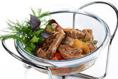 Braised meat ribs with vegetables — Stock Photo