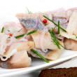 Herring pieces of salt fillet — Stock Photo