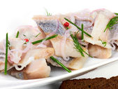 Herring pieces of salt fillet — Stockfoto
