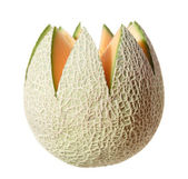 "Cantaloupe melon, top cut away in ""flower"" shape, isolated — Stock Photo"