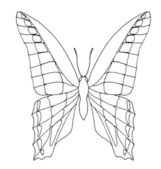 """Blue triangle"" butterfly hand drawing with smoothed lines — Stock Photo"