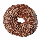 Chocolate doughnut, sprinkles and iscing, isolated — Stock Photo