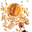 Stock Photo: Selection of beads in amber color scheme, isolated