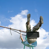 Little boy on a swing — Stock Photo