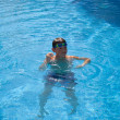 Swimming pool background - open air swimming pool; cute little b — Stock Photo