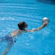 Stock Photo: Swimming pool background - open air swimming pool; cute little b