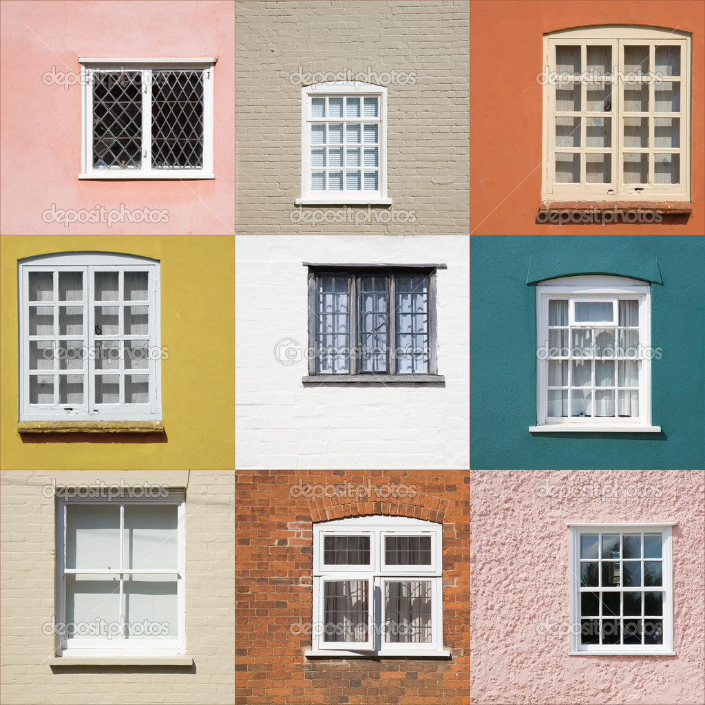 Collection of old window on different colored walls  Stock Photo #7542861