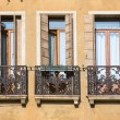 Stock Photo: Padova; Italy; Narrow balconies with metal railings