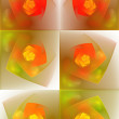 Fractal tiles in red, orange, lime and yellow over white — Stock Photo