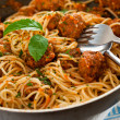 Original Italian spaghetti with meatballs in tomato sauce — Stock Photo #7184286
