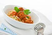Original Italian spaghetti with meatballs in tomato sauce — Stock Photo
