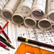 Architect rolls and plans — Stock Photo #6975421