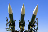 Several combat missiles aimed at the sky — Stock Photo