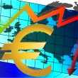 Euro crash, abstract illustration with Euro sign - Stock Vector