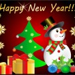 Happy new year snowman - Stock Vector