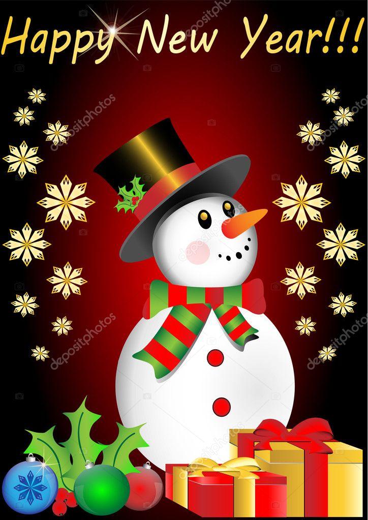 Happy new year snowman — stock vector vician