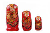 Different size of wooden russian dolls — Stock Photo