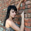 Royalty-Free Stock Photo: Fashion photo, a model is posing over brick wall