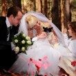 Foto Stock: Wedding couple, girl and little dog outdoor