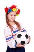 Ukrainian girl football fan — Stock Photo
