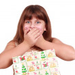 Surprised little girl with present box — Stock Photo