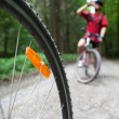 Mountain biking in a forest - bikers on a forest biking trail (s — Stock Photo