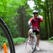 Mountain biking in a forest - bikers on a forest biking trail (s — Stock fotografie