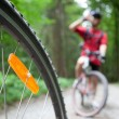 Mountain biking in a forest - bikers on a forest biking trail (s — Stock Photo #7416284