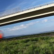 Fast train passing under a bridge - Stockfoto