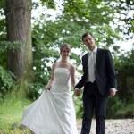 Lovely young wedding couple - freshly wed groom and bride posing — Stock Photo #7419103