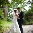 Lovely young wedding couple - freshly wed groom and bride posing — Stock Photo #7419110