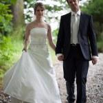 Lovely young wedding couple - freshly wed groom and bride posing — Stock Photo #7419115