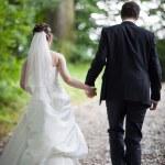 Lovely young wedding couple - freshly wed groom and bride posing — Stock Photo #7419117