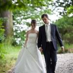 Lovely young wedding couple - freshly wed groom and bride posing — Stock Photo #7419121