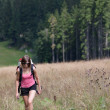 Foto Stock: Young womhiking outdoors (going uphill)